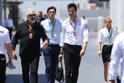 Flavio Briatore, Toto Wolff, Executive Director Mercedes AMG F1