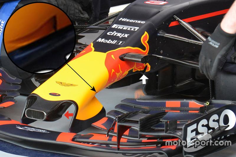 Detalle del ala delantera de Red Bull Racing RB13