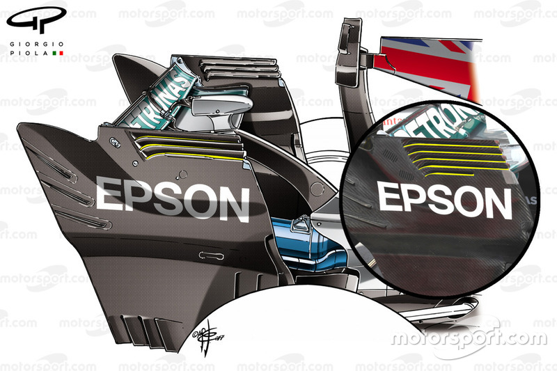 Mercedes W08 rear endplate comparison, Italian GP