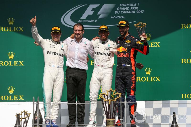 Kanada GP, Podyum: Yarış galibi Lewis Hamilton, Mercedes AMG F1, 2. Valtteri Bottas, Mercedes AMG F1, 3. Daniel Ricciardo, Red Bull Racing