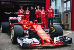 Kimi Raikkonen, Sebastian Vettel, Antonio Giovinazzi, Maurizio Arrivabene, Team Principal Ferrari, Sergio Marchionne, Président de Ferrari et de Fiat Chrysler Automobiles et Mattia Binotto, Directeur technique Ferrari
