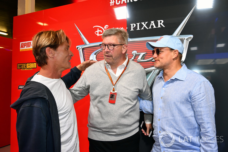 Ross Brawn, Formula One Managing Director of Motorsports, Woody Harrelson, Actor and in the cars 3 garage