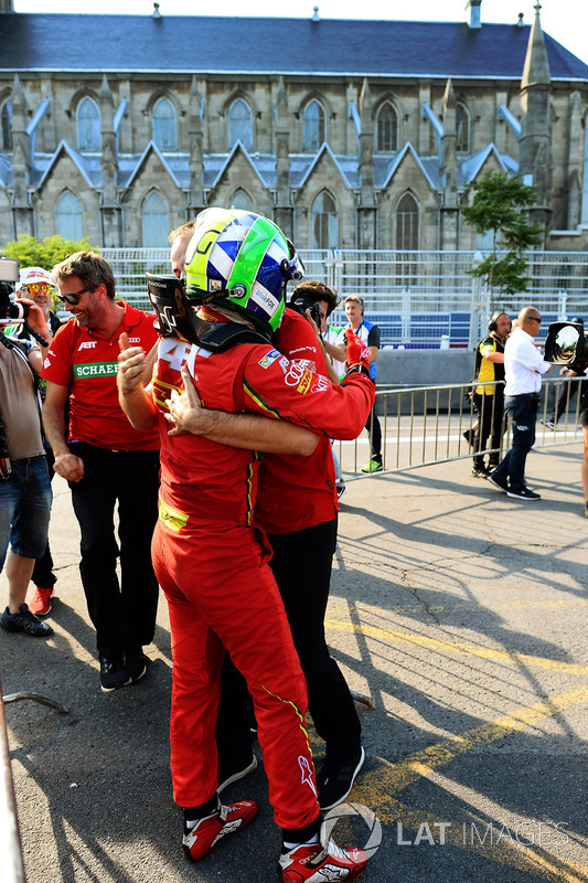 Lucas di Grassi, ABT Schaeffler Audi Sport, celebrates after winning the championship