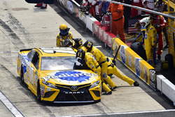 Kyle Busch, Joe Gibbs Racing Toyota, makes a pit stop