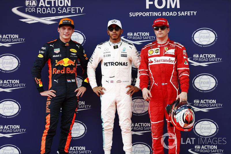 Володар поулу Льюис Хемілтон, Mercedes AMG F1, Кімі Райкконен, Ferrari, Макс Ферстаппен, Red Bull