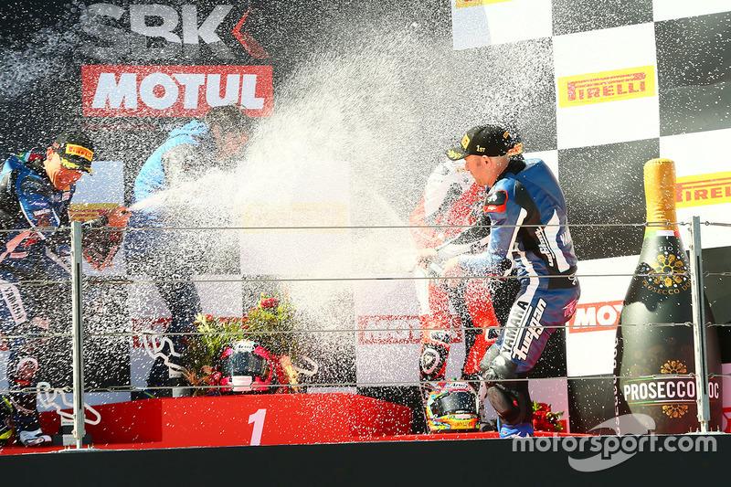 Podium: 1. Lucas Mahias, GRT Yamaha Official WorldSSP Team; 2. Sheridan Morais, Kallio Racing; 3. P.