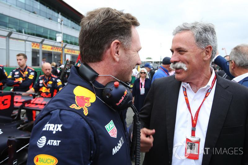 Christian Horner, Team Principal, Red Bull Racing, Chase Carey,jefe de la F1