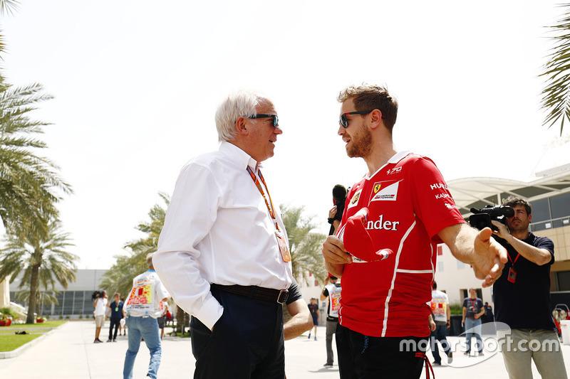 Sebastian Vettel, Ferrari, talks with Charlie Whiting, FIA Race Director