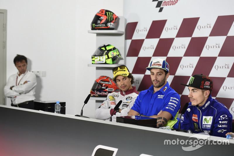 Loris Capirossi; Franco Morbidelli, Moto2-Polesitter; Andrea Iannone, Team Suzuki MotoGP; Maverick Viñales, Yamaha Factory Racing