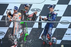 Podium: winner Maverick Viñales, Yamaha Factory Racing, second place Johann Zarco, Monster Yamaha Tech 3, third place Dani Pedrosa, Repsol Honda Team