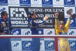 Podium: winner Alain Prost, Williams, second place Damon Hill, Williams, third place Michael Schumacher, Benetton
