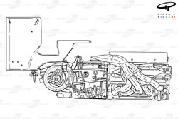 Benetton B201 engine, gearbox, rear brakes and rear wing