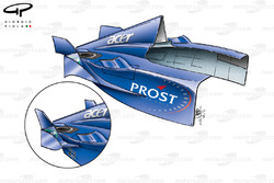 Prost AP04 sidepod winglet changes