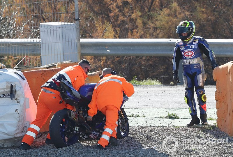Sandro Cortese, GRT Yamaha WorldSBK Team after his crash