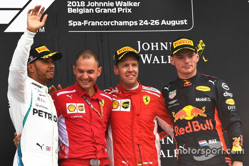 Yarış galibi Sebastian Vettel, Ferrari, 2. Lewis Hamilton, Mercedes AMG F1, 3. Max Verstappen, Red Bull Racing