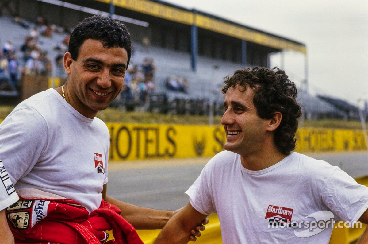 The vanquished and le vainqueur in the 1985 title battle. Albo and Prost remained friends throughout and afterward.