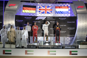 Bradley Lord, Head of Mercedes-Benz Motorsport Communications, Sebastian Vettel, Ferrari, Lewis Hamilton, Mercedes AMG F1 and Max Verstappen, Red Bull Racing celebrate on the podium