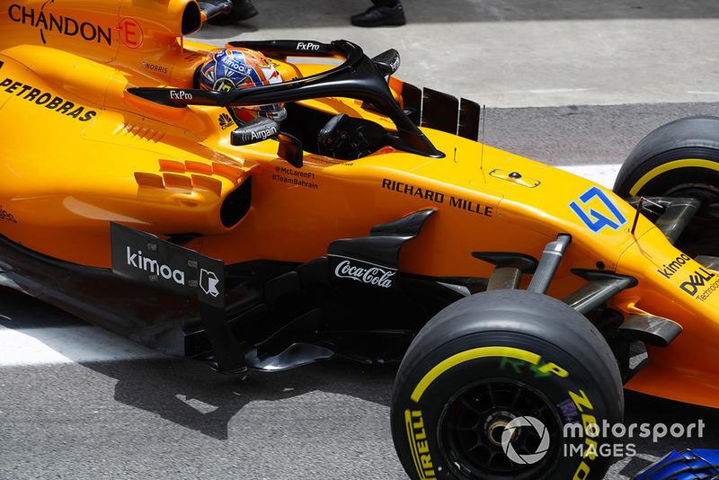 Lando Norris, McLaren MCL33, exits the team's garage