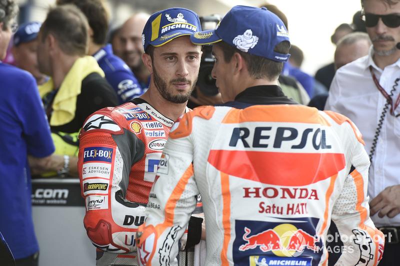 Il poleman Marc Marquez, Repsol Honda Team, Andrea Dovizioso, Ducati Team