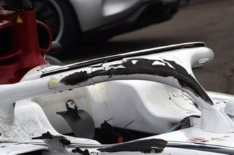 Tyre marks on Charles Leclerc's Halo and chassis, Sauber