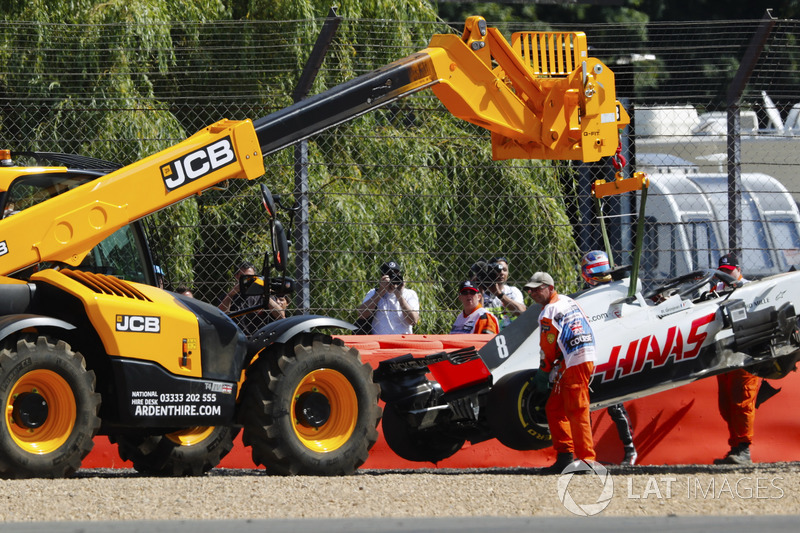Romain Grosjean, Haas F1 Team, crash