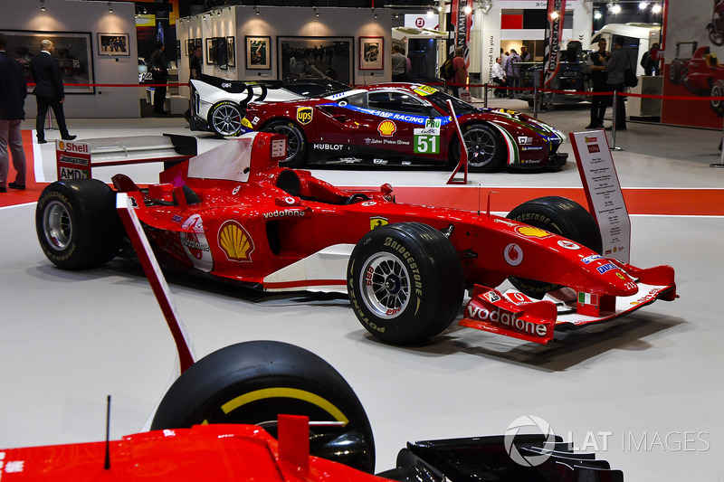 A collection of Ferrari cars on display