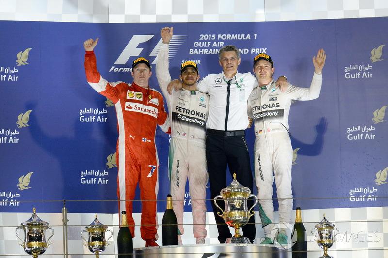 2015: 1. Lewis Hamilton, 2. Кimi Raikkonen, 3. Nico Rosberg