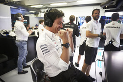 Toto Wolff, Executive Director, Mercedes AMG, celebrates as his drivers take the front row