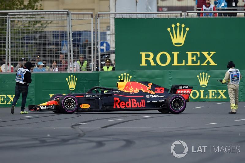 Kazalı araç, Max Verstappen, Red Bull Racing RB14