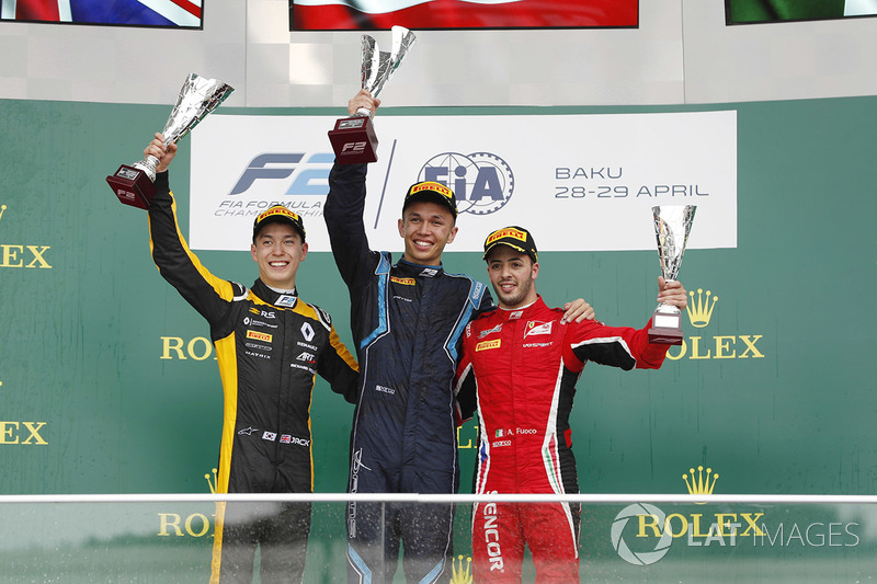 Podium: second place Alexander Albon, DAMS, winner Jack Aitken, ART Grand Prix. third place Antonio Fuoco, Charouz Racing System
