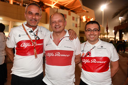 Beat Zehnder, Sauber Manager, Frederic Vasseur, Sauber, Team Principal and Luca Furbatto, Sauber Chief Designer celebrate