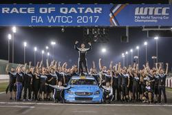 World champion Thed Björk, Polestar Cyan Racing, Volvo S60 Polestar TC1 with the team