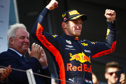 Max Verstappen, Red Bull Racing, 1st position, celebrates on the podium