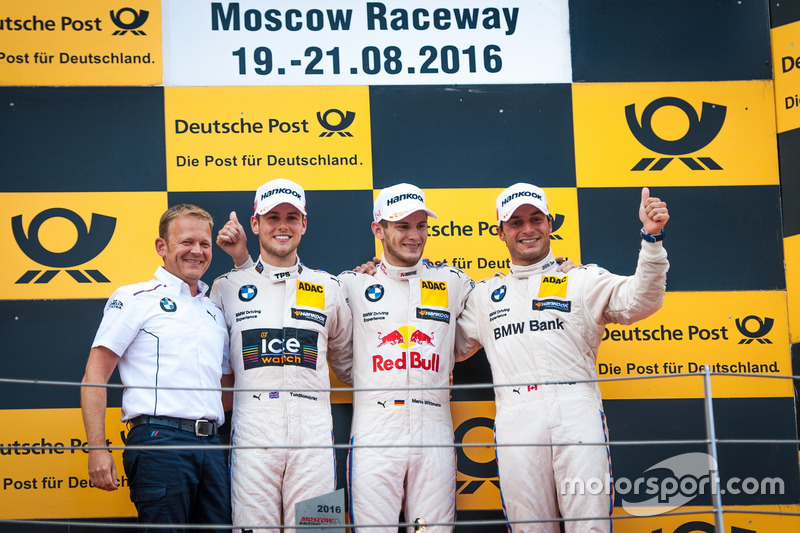 Podio: il secondo classificato Tom Blomqvist, BMW Team RBM, BMW M4 DTM; il vincitore della gara Marco Wittmann, BMW Team RMG, BMW M4 DTM; il terzo classificato Bruno Spengler, BMW Team MTEK, BMW M4 DTM e Stefan Reinhold, BMW Team RMG.