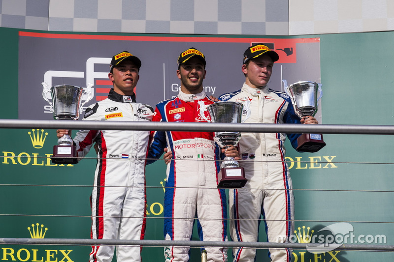 Antonio Fuoco, Trident; Nyck De Vries, ART Grand Prix; Matthew Parry, Koiranen GP