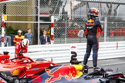 Second place Sebastian Vettel, Ferrari SF71H, Race winner Daniel Ricciardo, Red Bull Racing RB14, third place Lewis Hamilton, Mercedes AMG F1 W09, celebrate in Parc Ferme