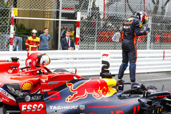 Second place Sebastian Vettel, Ferrari SF71H, Race winner Daniel Ricciardo, Red Bull Racing RB14, third place Lewis Hamilton, Mercedes AMG F1 W09, celebrate in Parc Ferme