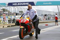 La moto accidentée de Marc Marquez, Repsol Honda Team