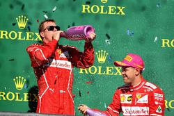 Second place Sebastian Vettel, Ferrari, third place Kimi Raikkonen, Ferrari