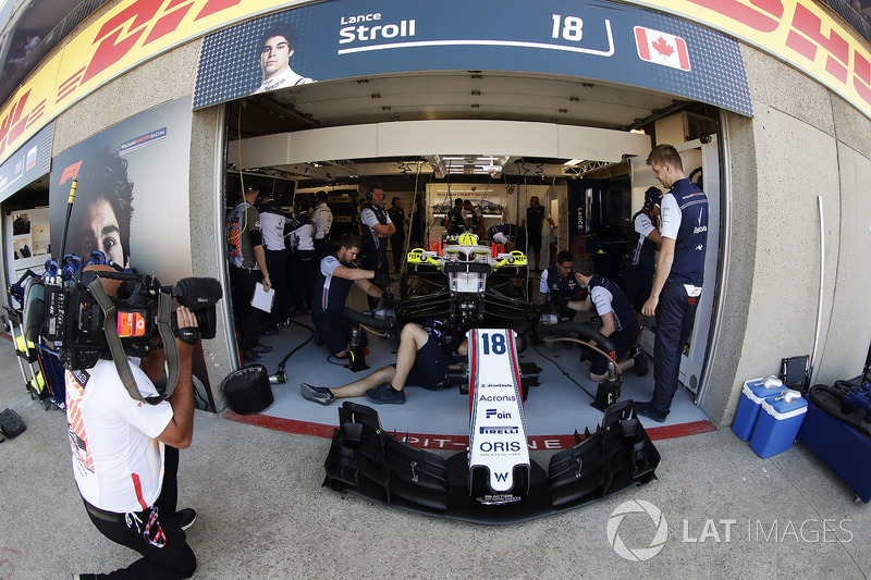 Lance Stroll, Williams FW41, is filmed while in the team's garage