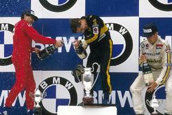 Race winner Ayrton Senna, Lotus, second place Michele Alboreto, Ferrari, third place Patrick Tambay, Renault