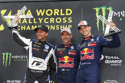 Ganador, Sébastien Loeb, Team Peugeot Total, segundo, Petter Solberg, PSRX Volkswagen Sweden, tercero, Timmy Hansen, Team Peugeot Total
