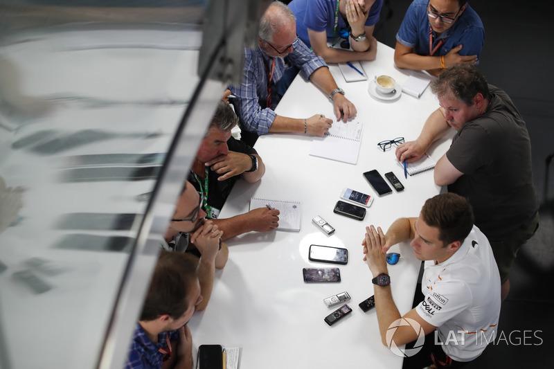 Stoffel Vandoorne, McLaren, holds a press conference