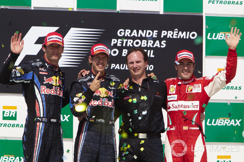 Podium: second place Mark Webber, Red Bull Racing RB6 Renault, Race winner Sebastian Vettel, Red Bull Racing RB6, Christian Horner, Team Principal, Red Bull Racing, third place Fernando Alonso, Ferrari