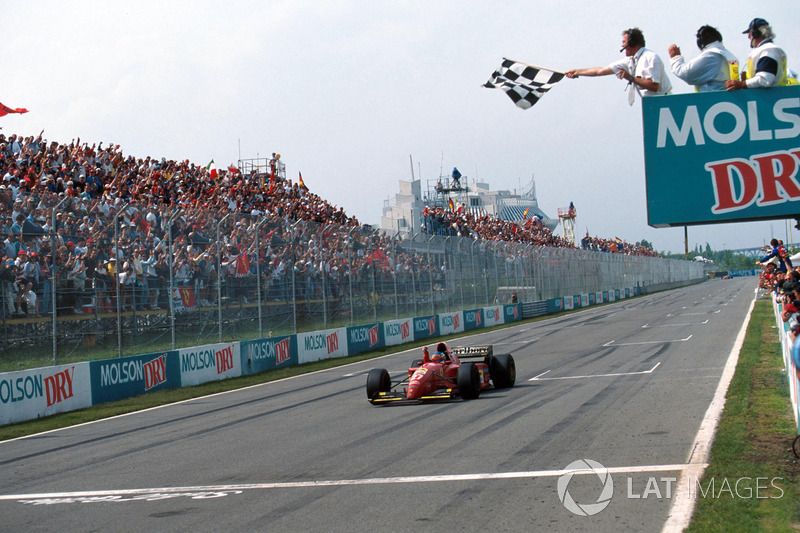 Jean Alesi, Ferrari 412T2, takes his first win