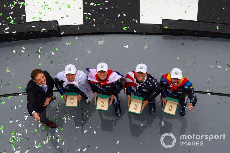 #10 Wayne Taylor Racing Cadillac DPi: Renger Van Der Zande, Jordan Taylor, Fernando Alonso, Kamui Kobayashi, Race Winners, Celebration, Rolex Watches