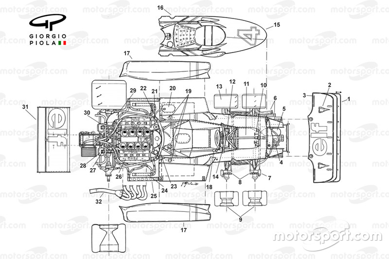 Tyrrell P34 exploded top view