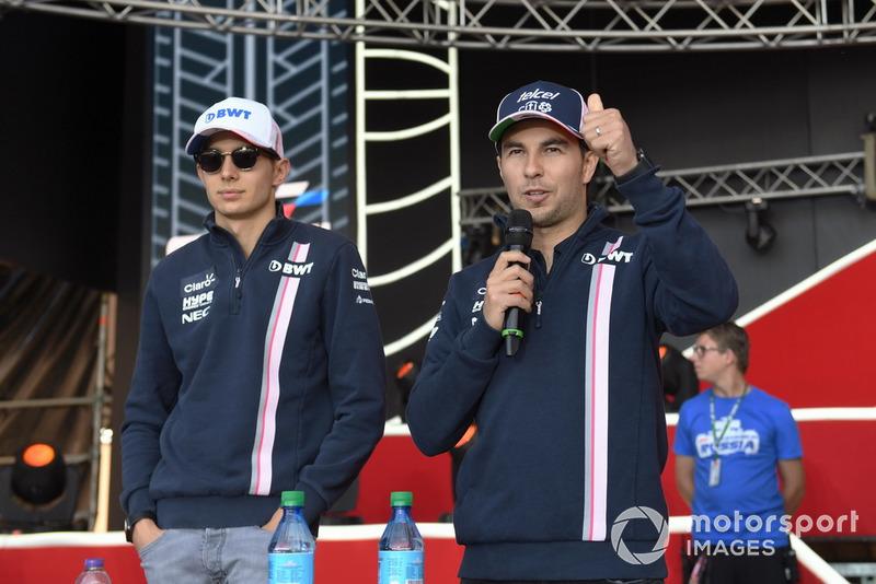 Esteban Ocon, Racing Point Force India F1 Team y Sergio Pérez, Racing Point Force India F1 Team