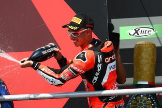 Podium: second place Marco Melandri, Aruba.it Racing-Ducati SBK Team