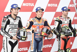 Qualifying: second place Karel Abraham, Aspar Racing Team, polesitter Marc Marquez, Repsol Honda Team, third place Cal Crutchlow, Team LCR Honda